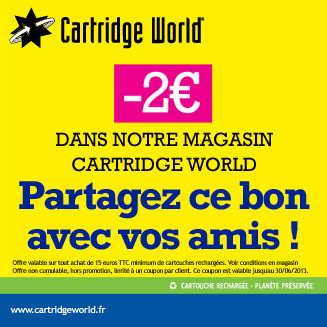 Coupon de réduction Cartridge World Dax à partager